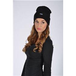 Čepice OSKAR, pletená + fleece, ZIMNÍ, černá