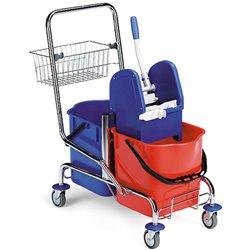 Vozík úklidový FILMOP 8018, 2 x 25L, chrom, košík